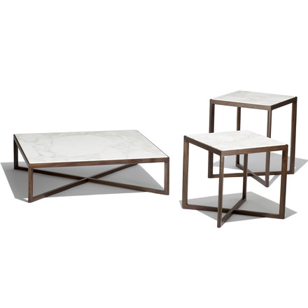 Knoll - Krusin Coffee Table u. Side Table, weiß marmoriert