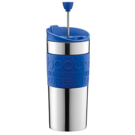 Bodum - Travel Press - Edelstahl, 0.35 L, blau