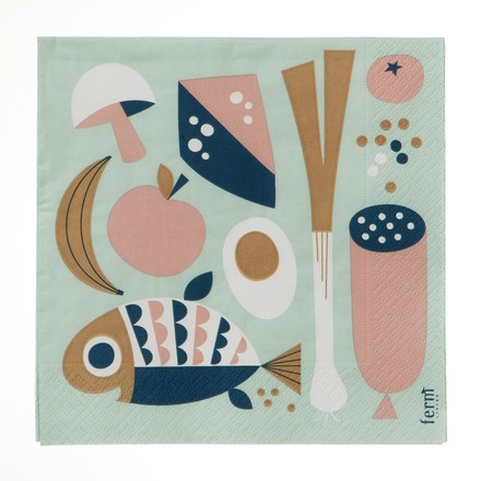 Ferm Living - Grocery Napkins, Servietten, mint