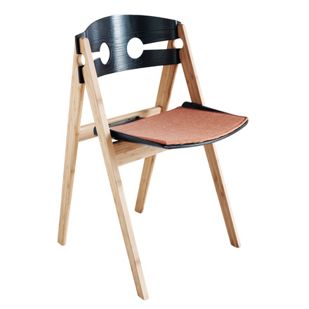 We do wood - Dining Chair no. 1 schwarz, mit Sitzauflage koral