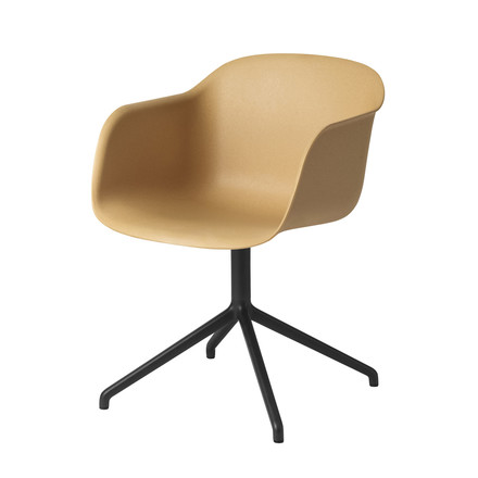 Muuto - Fiber Chair - Swivel Base, natur/schwarz