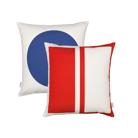 Vitra - Graphic Print Pillow - Rectangles / Circle 40 x 40 cm, rot / blau