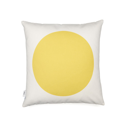 Vitra - Graphic Print Pillow - Rectangles / Circle 40 x 40 cm, blau / senfgelb, gelbe Seite
