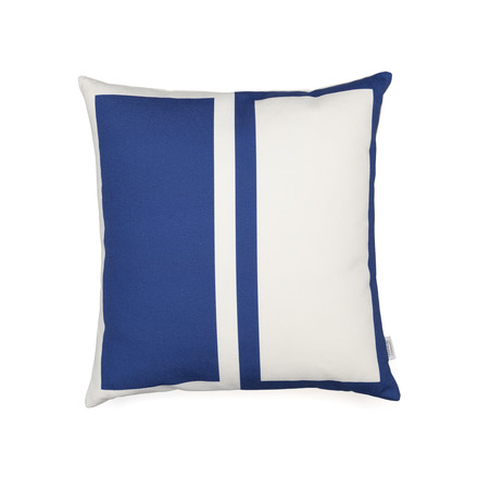 Vitra - Graphic Print Pillow - Rectangles / Circle 40 x 40 cm, blau / senfgelb, blaue Seite
