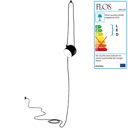 Flos - AIM Small LED-Pendelleuchte Cable + Plug, schwarz