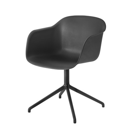 Muuto - Fiber Chair - Swivel Base, schwarz / schwarz
