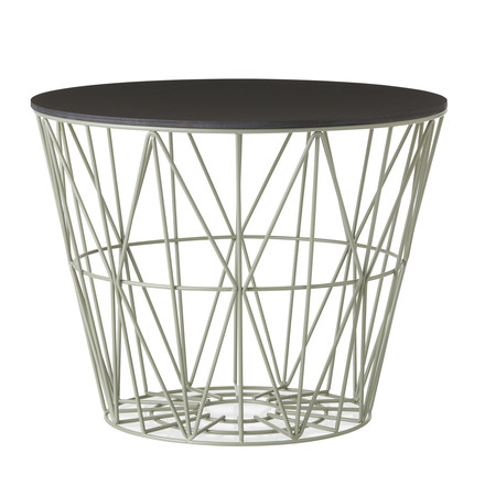Wire Basket in Dusty Green mit Top in Schwarz gebeizt von ferm Living