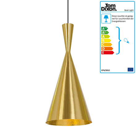 Beat Light Tall Pendelleuchte von Tom Dixon aus Messing