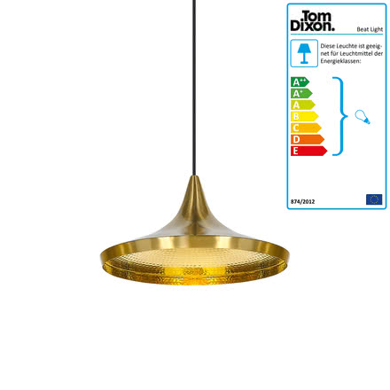 Beat Light Wide Pendelleuchte von Tom Dixon aus Messing