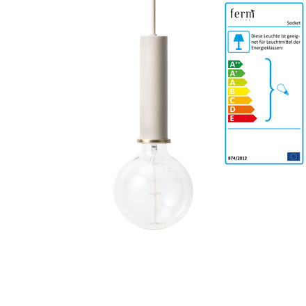 Die ferm Living - Socket Pendelleuchte High in hellgrau