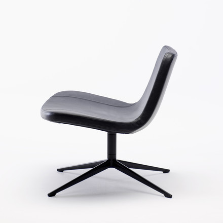 Hay - Ray Lounge Chair, Drehgestell, Leder