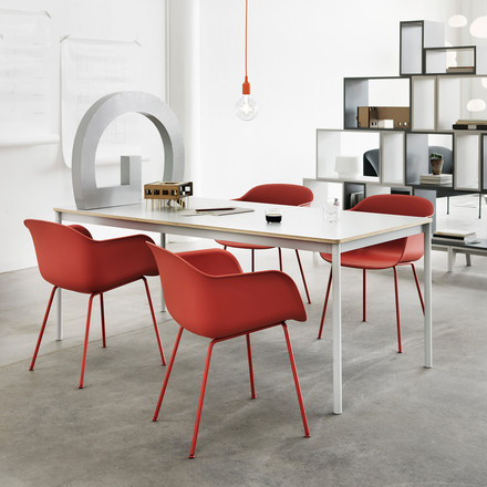 Muuto - Fiber Chair - Tube Base, rot
