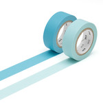 Masking tape - 2P basic color baby blue, mizu (2er-Set)