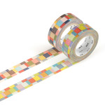Masking tape - 2P deco series mosaic / bright, greyish (2er-Set)
