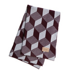 ferm Living - Knitted Blanket Decke, squares bordeaux