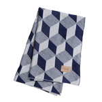 ferm Living - Knitted Blanket Decke, squares blue