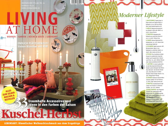 "Artikel+Cover: Living at Home, 2010 November, Seite 40, ""Moderner Lifestyle"""
