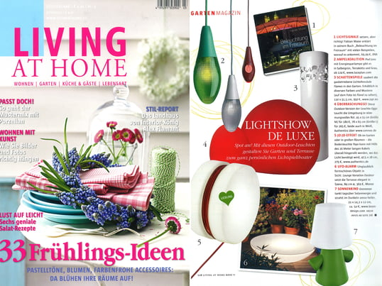 "Artikel + Cover: Living at Home, 2011 März, Seite 118, ""Lightshow de Luxe"""