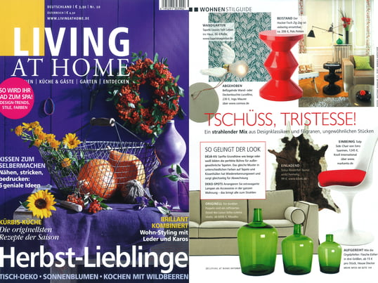 "Living at Home, Nr. 10/2011, S.20, ""Tschüss, Tristesse!"", Artikel"