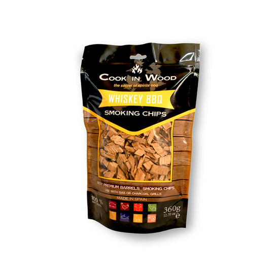 Whiskey BBQ Räucherchips (360 g Packung) von Cook in Wood