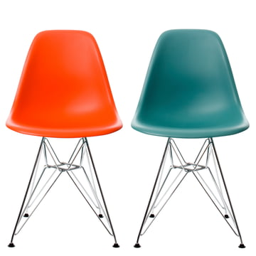 Vitra - Eames Plastic Side Chair DSR Set: ocean+rot