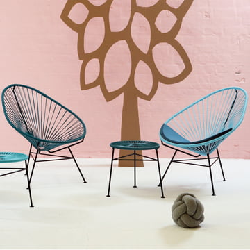 OK Design - The Acapulco Chair, petroleum blau, hellblau